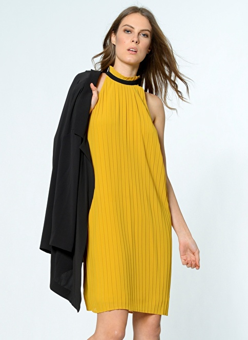Vero Moda Şifon Elbise Altın